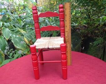 Antique Doll Furniture Ladderback Chair