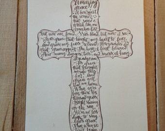 Amazing Grace print - hand drawn, cross pattern outline