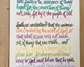 Bible verse print - hand drawn, Hebrews 11:1-3,6 color pallete