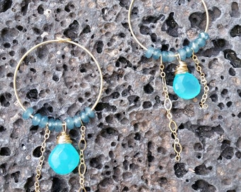 Aqua Chalcedony and Apatite Earrings