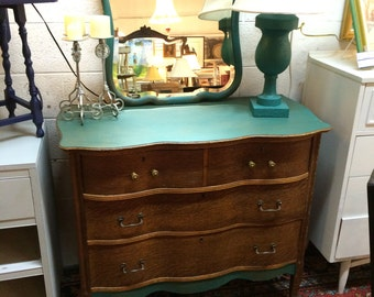 Antique Oak Dresser Turquoise Accent- Mirror NOT Included.