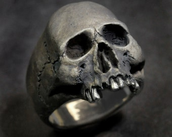 Skull Ring,Half Jaw, Mens Silver Skull Ring, Jack Sparrow,Biker ring, Rocker ring, Goth ring, Custom Sterling Silver Skull Ring,.925