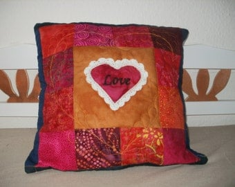 "Romantic Patchwork Cushion ""Love"" in Reds and Golds"