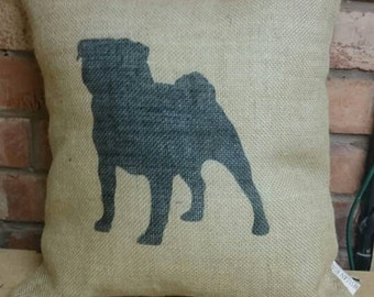 Hessian pug puppy dog cushion cover jute burlap