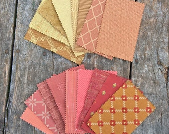 "Brunschwig & Fils Fabric Samples Pinks and Golds 17 Pieces 7"" x 4"" Cotton Fabric For Crafts Designer Upholstery Fabric Textured Fabric"