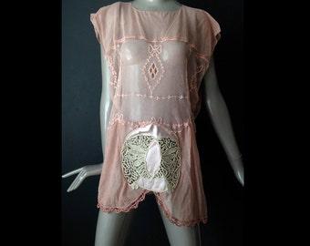 semi sheer antique net flapper tunic dress--m/l