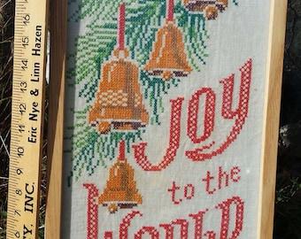 Joy to the world stitch work framed