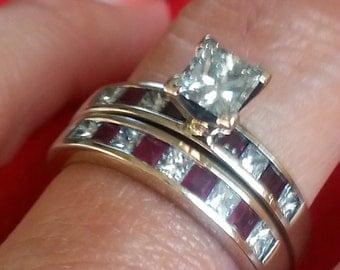 18k White Gold Ruby and Diamond Wedding Ring Set