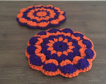 Vintage Purple & Orange Crocheted Trivets; Vintage Pot Holders; Crocheted Hot Pads; Vintage Kitchen
