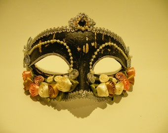 Black and Pink Venetian Wedding Masquerade Mask, Mardi Gras Masquerade Mask, Flower Design.