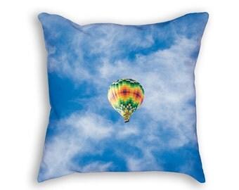 Hot Air Balloon in Blue Sky Throw Pillow, Hot Air Balloon Throw Pillow, Blue Sky Decorative Pillow