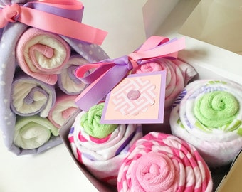 Baby Shower Gift, Baby Girl Gift Set - Diaper Cake Stork Bundle, Receiving Blanket Cupcakes | New Baby Gift