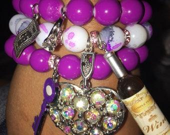 Purple love bracelet set