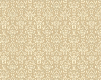 Damask Backdrop - yellow damask wallpaper - Printed Fabric Photography Background P0147