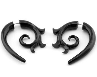 Black Horn Kalila Curl Spirals Fake Gauge Earrings