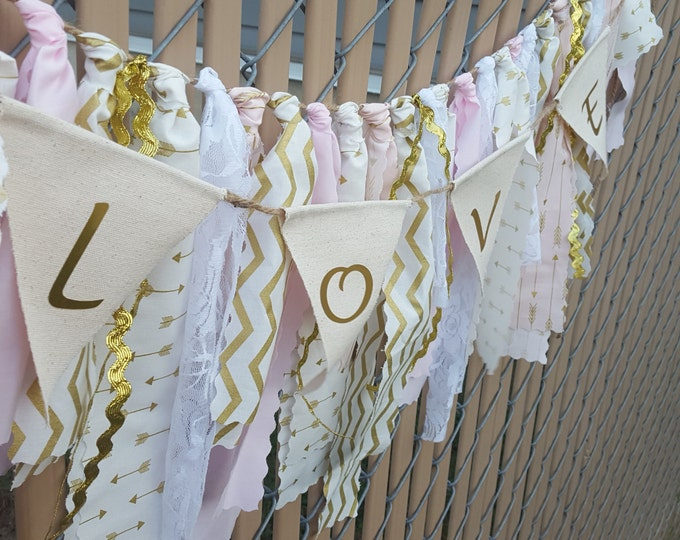 Pink And Gold Arrow Wall Banner