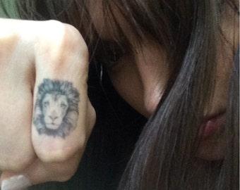 Lion Temporary Tattoo. 4 Lion Head Knuckle Tattoos. Stocking stuffers