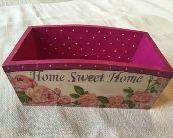 Handmade Sweet roses and kitties wooden decoupaged basket in vintage style