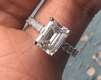 Emerald Cut Diamond Engagement Ring - E VS2 Set In -Platinum-Diamonds Down Shank