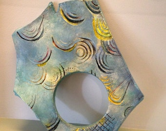 Ceramic art, clay tile, wall art, clay abstraction, unique art, clay sculpture, painted clay, wall sculpture