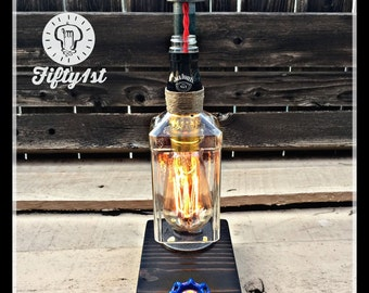 "Industrial Table Lamp ""Jack"", Up-cycled Table Lamp, Reclaimed wood lamp"
