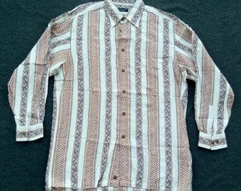 Vtg Christian Dior Tribal Design Rayon Blend Casual Shirt