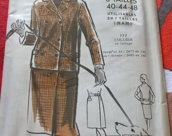 """UNOPENED Fabulous 60's french vintage sewing pattern - """"Patrons Modes & Travaux"""" 777 Tailored suit woman sizes 40-44-48  / size 12-16-20"""