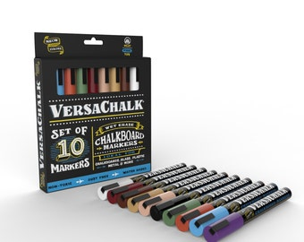 Chalk Marker Fine Set (10 Classic Colors) - Erasable Chalk Pens for Chalkboard Signs, Wedding Chalkboards, Glass, Metal, Plastic & Ceramic