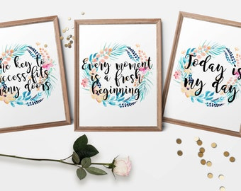 Set of 3 - inspirational quotes on bright floral watercolour wreaths. A4 A3 HQ glossy photo print. For motivation, nursery, gifts. Australia