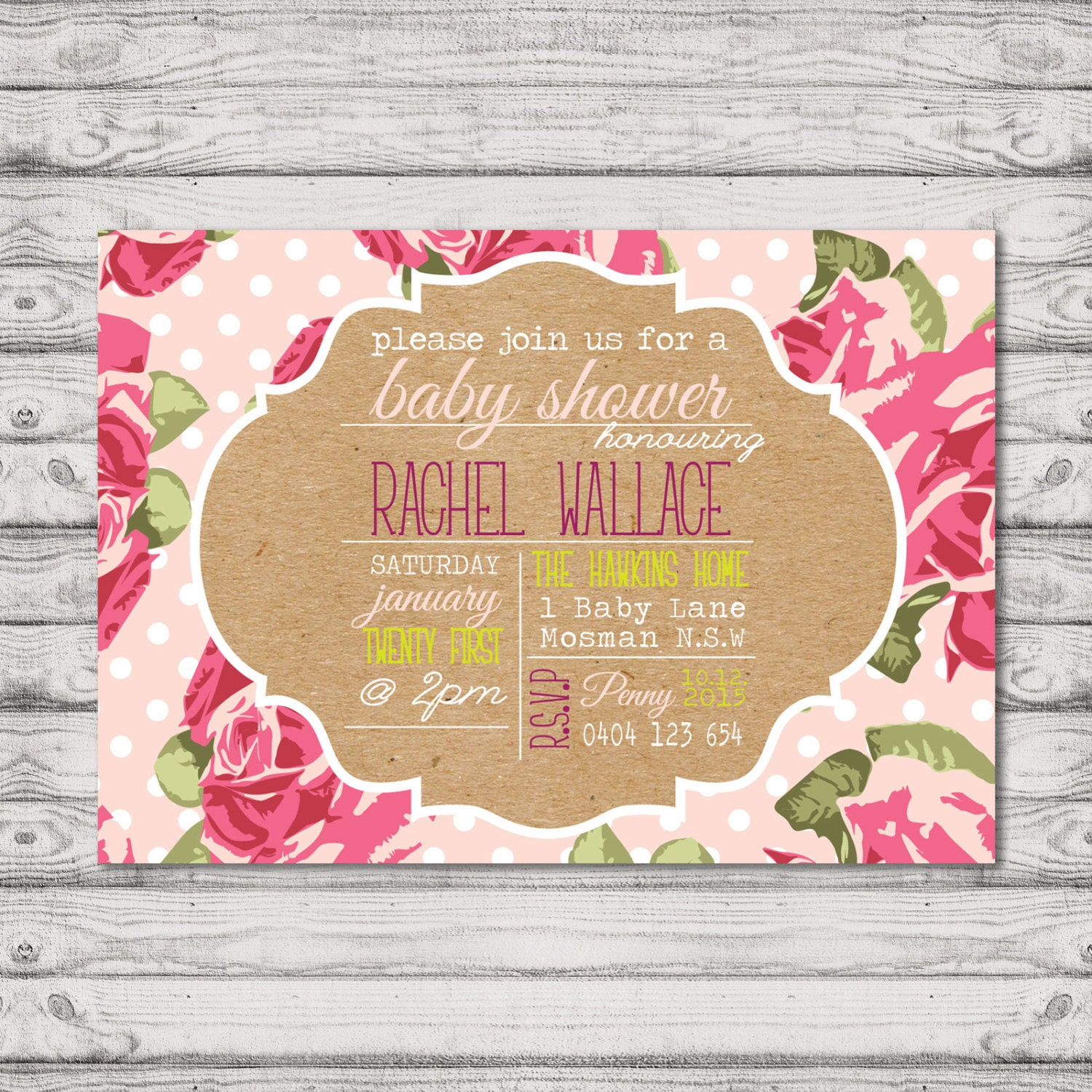 Floral baby shower invitation print at home file or printed floral baby shower invitation print at home file or printed invitations pink dots filmwisefo