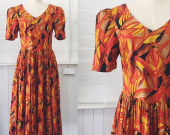 Vintage 80's Autumn Print Dress