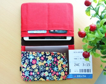 Floral Garden Passport Wallet, Fabric Travel Wallet, Travel Document Holder, Family Passport Holder, Gift for Her - Made to Order