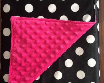 Polka dot and pink Minky Blanket