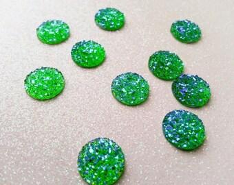 12mm Bright Green, Kelly Green AB Faux Druzy Cabochon - 10 pcs