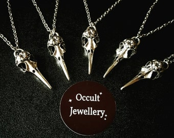 Silver bird skull necklace