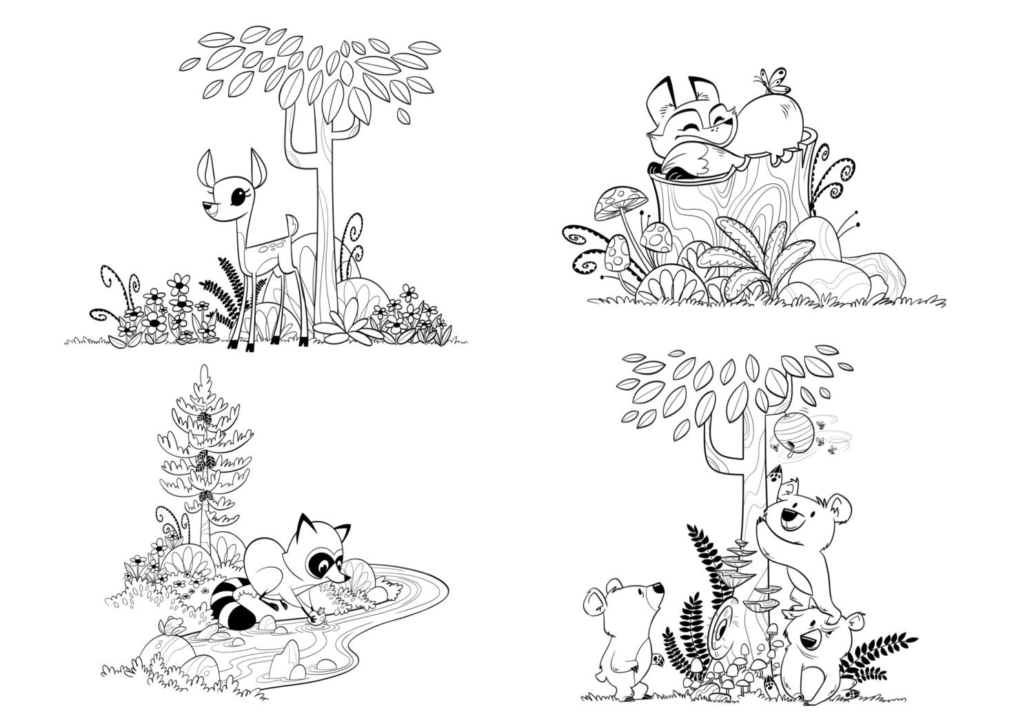 woodland forest animals coloring pages for children and adults. Black Bedroom Furniture Sets. Home Design Ideas