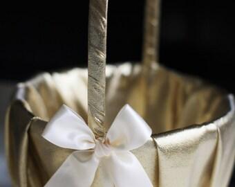 Gold Ivory Wedding Basket and Pillow Set  \ Ivory Flower Girl Basket \ Gold Ring Bearer Pillow\ Gatsby Gold Petals Basket and Ring Holder