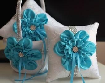 Turquoise Flower Girl Basket \ Turquoise Ring Pillow \ White Sky Blue Bearer Pillow \ Turquoise Wedding Basket Pillow Set \ Sky Blue Basket