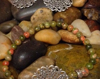 Unakite mandala bracelet and earring set