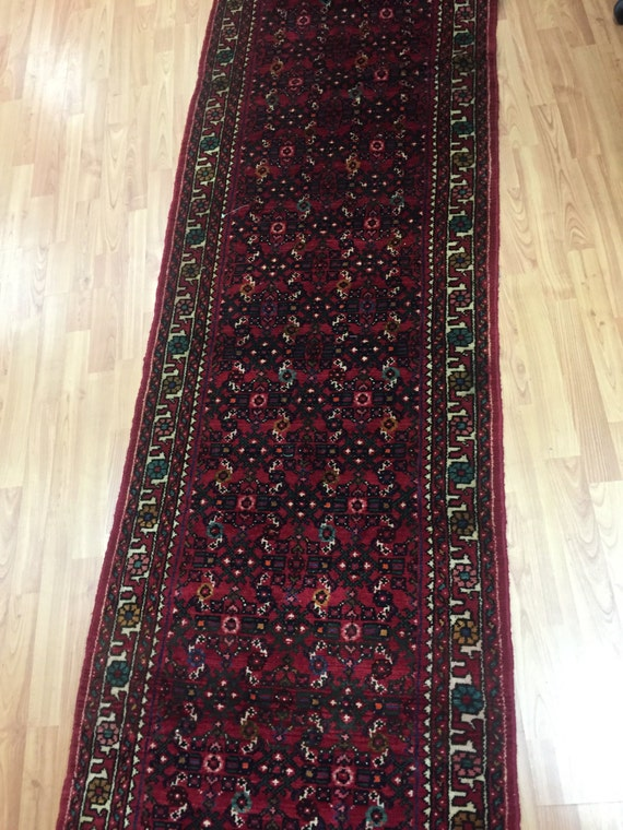 "2'7"" x 31' Persian Hamadan Floor Runner Oriental Rug - Hand Made - 100% Wool"