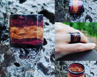 Ombre Ebony Rock Maple Purple Heart Wood Ring - woman ring - wooden ring - women gift - wooded band - fashion statement - wooden rings women
