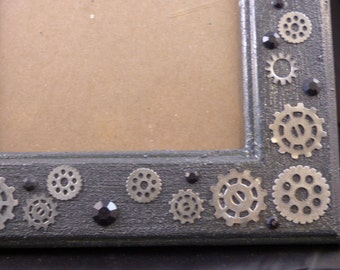 Silver Steampunk Gears Embellished 5 x 7 Picture Frame
