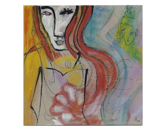 "Original paintings original of 20/20 cm (hand-painted and hand-drawn image) painting / portrait ""Man, woman"""