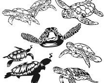 Sea Turtle Cuttable Design SVG, DXF, EPS use with Silhouette Studio & Cricut, Vector Art, Heat Transfer Vinyl Digital Cutting Cut Files