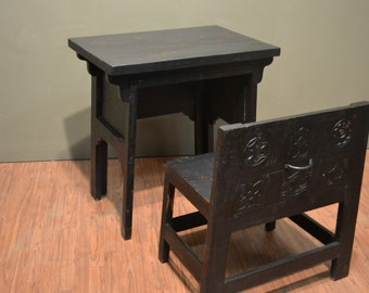 Rustic Distressed wood Black Desk and Chair / Writing table / Library Table with Carved Back Chair