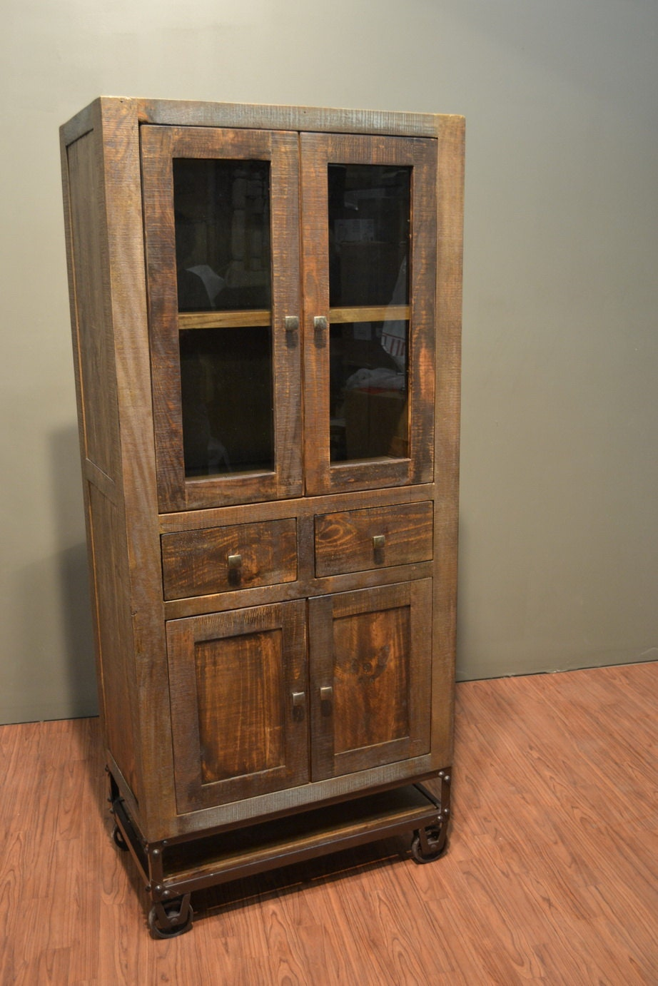 rustic solid reclaimed wood china cabinet liquor by. Black Bedroom Furniture Sets. Home Design Ideas