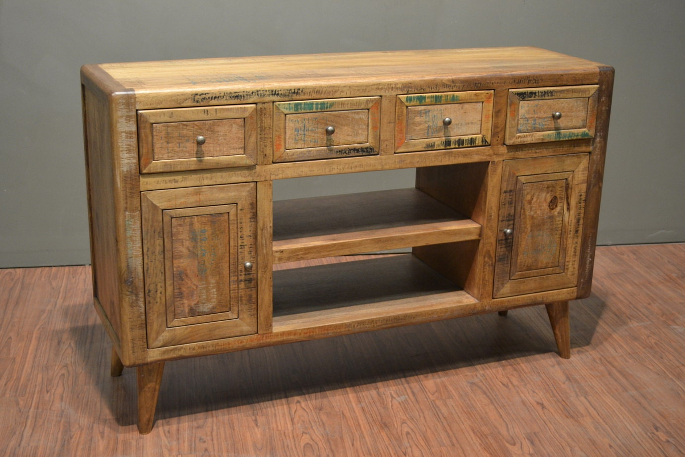 rustic solid wood retro style tv stand media console. Black Bedroom Furniture Sets. Home Design Ideas