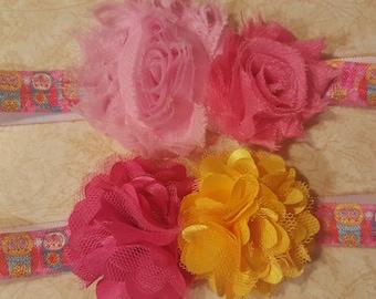 Pink owls headbands