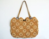Daisy purse -- vintage Jamin Puech raffia handbag with leather straps, crocheted tote, neutral boho summer bag, natural hippie fashion, 90s