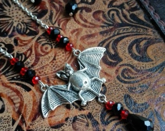 Gothic vampire bat necklace and earrings set